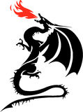 Fire breathing dragon. Black and white drawing of a winged dragon breathing red flames Stock Photos