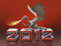 Fire-breathing dragon. For a calendar for 2012 vector illustration