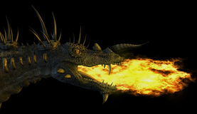 Fire Breathing Dragon. 3D render of a spiky fire breathing dragon Royalty Free Stock Image