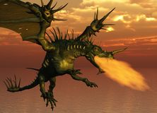Fire Breathing Dragon. 3D render of a fire-breathing dragon flying at sunset Royalty Free Stock Photos