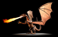 Fire Breathing Dragon. A fire breathing dragon on a black background Royalty Free Stock Images