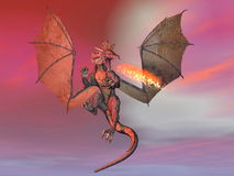 Fire breathing dragon - 3D render. Fire-breathing dragon flying wings wide open at sunset Royalty Free Stock Photo