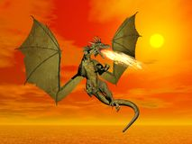 Fire breathing dragon - 3D render. Fire-breathing dragon flying wings wide open at sunset Stock Photo