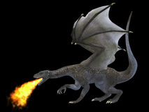 Fire Breathing Dragon. A fierce dragon with huge teeth and claws breathes fire as a weapon as he rises with outspread wings Royalty Free Stock Image