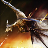 Fire breathing dragon rushing in for another attack. 3d rendering Stock Photo