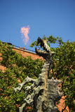 Fire Breathing Dragon Sculpture at the Royal Wawel Castle in Krakow Poland Stock Photography