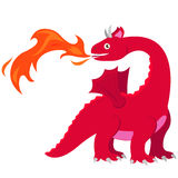 Fire breathing dragon. Vector illustration of a red dragon breathing fire Royalty Free Stock Photo