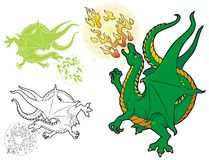Fire breathing dragon Stock Photo