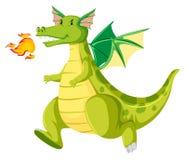 Fire breathing green dragon. Illustration vector illustration
