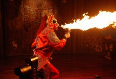 Fire breathing. Is a trick that has been used for decades by circus performers, magicians, side show artists and the like. This show was in a Sichuan food Royalty Free Stock Photo