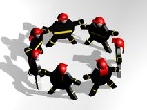 Fire brigade. Fire fighters in circle, teamwork Royalty Free Stock Photos