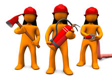 Fire Brigade. The fire brigade with axe, extinguisher and fire hose. White background Stock Photography
