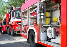 Fire brigade. Firefighters brigade ready for action Stock Image