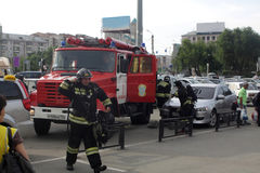 Fire brigade in action Royalty Free Stock Photos
