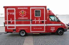 Fire brigade ambulance in Lisbon Stock Photo