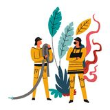 Fire brigade, brave males wearing costumes, firefighters with hoses. Vector. People in protective helmets ready to rescue people lives. Foliage and leaves stock illustration