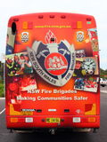 Fire brigade bus Australia. The colorful painted heck of a bus of the New South Wales Fire Brigades Royalty Free Stock Image