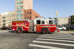 Fire brigade car at the street in Brooklyn, New York. NEW YORK CITY, USA - OCT 20, 2015: fire brigade car at the street in Brooklyn, New York, USA. The car Royalty Free Stock Photo