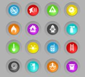 Fire brigade colored plastic round buttons icon set. Fire brigade colored plastic round buttons vector icons for web and user interface design royalty free illustration