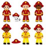 Fire brigade cute boys cartoon vector illustration. Vector illustration isolated on white background Royalty Free Stock Photos