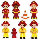 Fire brigade cute boys cartoon vector illustration. Stock Photo