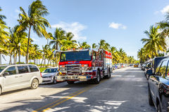 Fire brigade on duty in South Beach in Miami Royalty Free Stock Photo