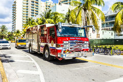 Fire brigade on duty in South Beach in Miami Stock Photography