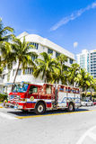 Fire brigade on duty in South Beach in Miami Stock Photos