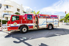 Fire brigade on duty in South Beach in Miami Royalty Free Stock Photography