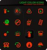 Fire-brigade icon set. Fire-brigade easy color vector icons on darken background for user interface design vector illustration