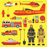 Fire brigade equipment infographics set Stock Photos