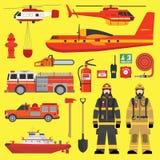 Fire brigade equipment infographics set. Firefighters, vehicles, equipment and fire brigade collection set Stock Illustration