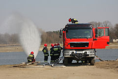 Fire brigade during exercise. Stock Photography