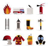 Fire-brigade and fireman equipment icon - vector i. Con set Stock Image