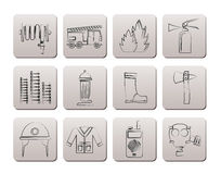 Fire-brigade and fireman equipment icons vector illustration
