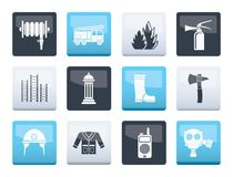 Fire-brigade and fireman equipment icons over color background stock illustration