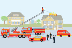 Fire brigade and fireman. Red fire truck Royalty Free Stock Photos
