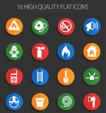 Fire brigade 16 flat icons. Fire brigade vector icons for web and user interface design stock illustration