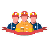 Fire brigade flat vector illustration. Flat vector illustration of a fire brigade. Firemen characters isolated on white background Stock Photos