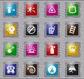 Fire-brigade glass icon set. Fire-brigade vector glass icons for user interface design vector illustration