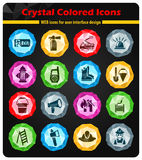 Fire brigade icon set. Fire brigade crystal color icons for your design Royalty Free Stock Photos