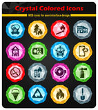 Fire brigade icon set. Fire brigade crystal color icons for your design Stock Photos