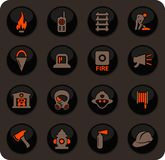 Fire-brigade icon set. Fire brigade color vector icons on dark background for user interface design royalty free illustration