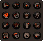 Fire-brigade icon set. Fire brigade color vector icons on dark background for user interface design vector illustration