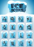 Fire brigade icon set. Fire brigade vector icons frozen in transparent blocks of ice royalty free illustration