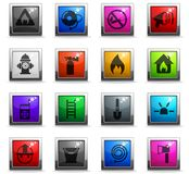 Fire brigade icon set. Fire brigade vector icons in square colored buttons royalty free illustration
