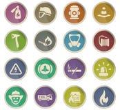 Fire brigade icon set. Fire brigade vector icons for user interface design stock illustration