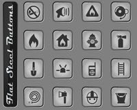 Fire brigade icon set. Fire brigade vector web icons on the flat steel buttons royalty free illustration