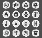 Fire brigade icon set. Fire brigade web icons stylized postage stamp for user interface design royalty free illustration