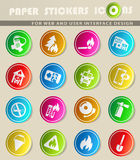 Fire brigade icon set. Fire brigade icons on color paper stickers for your design Royalty Free Stock Images